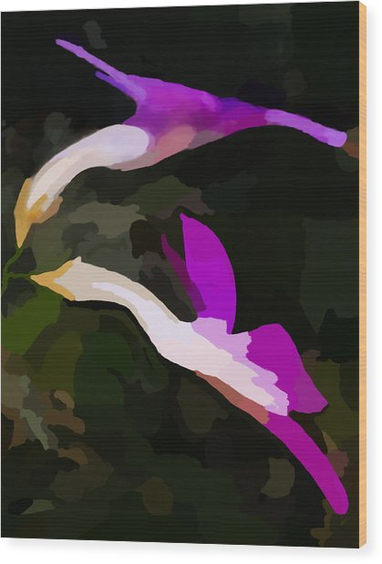 Flowers Dancing Wood Print