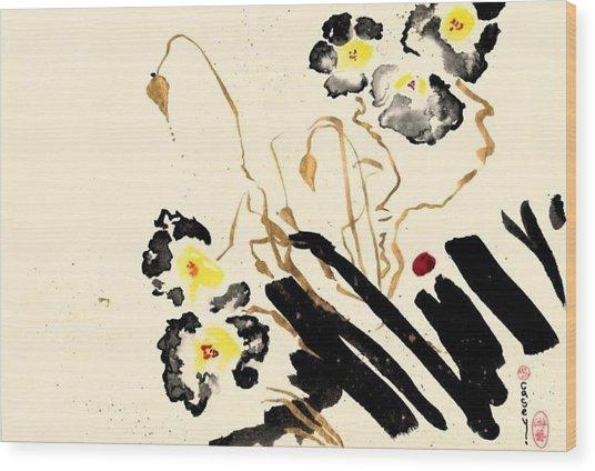 Flowers Grey Wood Print
