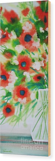 Flowers In A Glass Wood Print