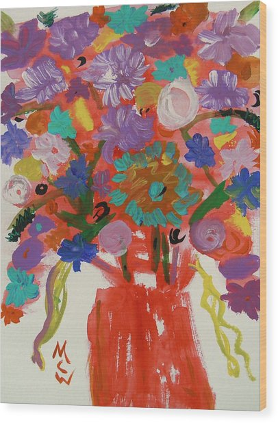 Flowers In A Wild Moment Wood Print by Mary Carol Williams
