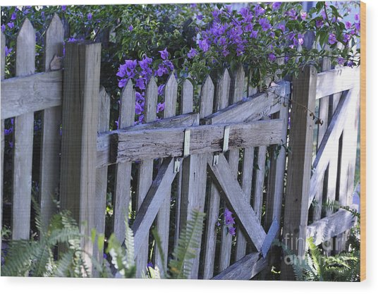 Flowers On A Fence Wood Print