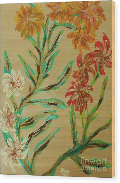 Flowers That Look Like Old Fashioned Wallpaper Wood Print by Marie Bulger