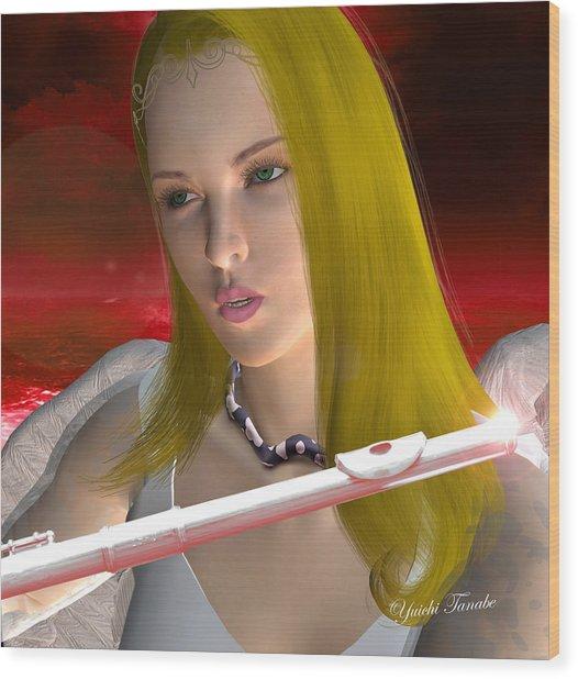 Flute Angel 1 Wood Print