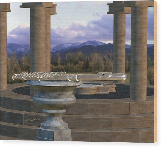 Flute On Marble Vase 1 Wood Print