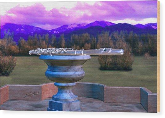 Flute On Marble Vase 2 Wood Print