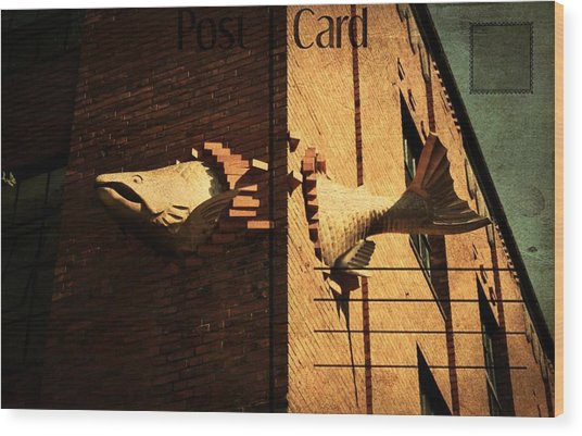 Flying Fish Postcard Wood Print by Cathie Tyler