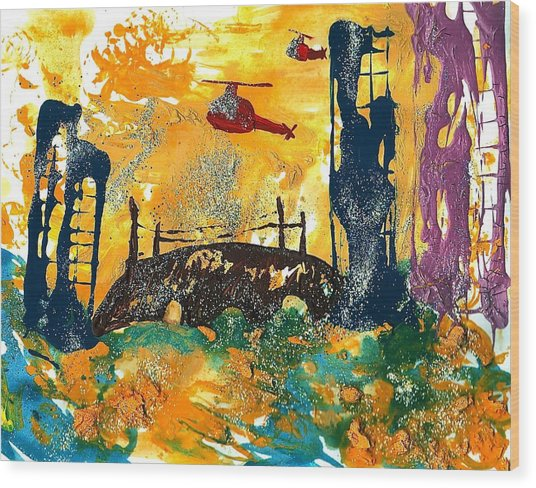 Flying Helicopters Over Turbulent Waters Wood Print
