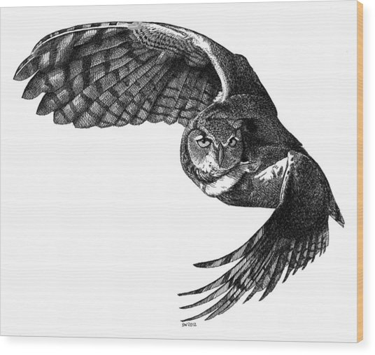Flying Owl Wood Print