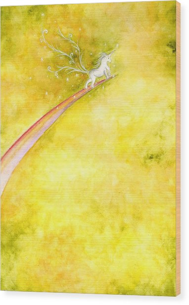 Flying Unicorn Wood Print by Asida Cheng