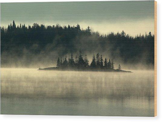 Fog Island Wood Print