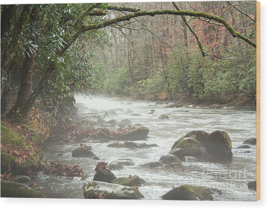 Fog On The River Wood Print