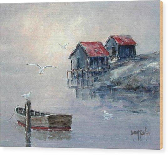 Foggy Cove II Wood Print