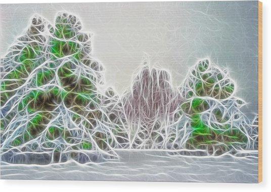 Foggy Morning Landscape 17 - Fractal Abstract Wood Print by Steve Ohlsen