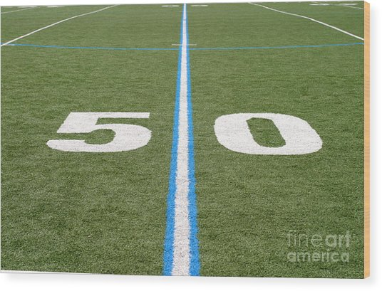 Football Field Fifty Wood Print