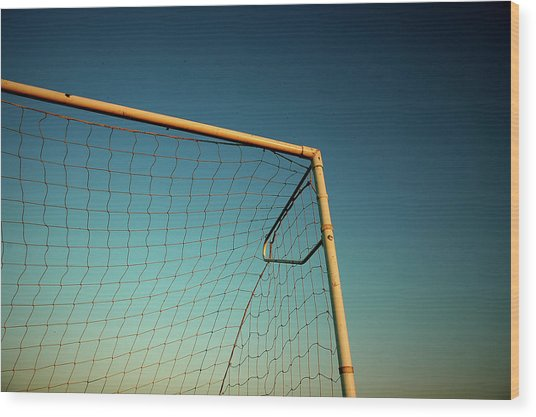 Football Goalpost And Net Wood Print