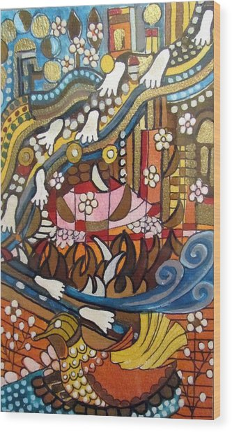 Footsteps To Peace Colorful Abstract Symbolism With Urban Cityscape Path Tracks Bird Dove Wood Print