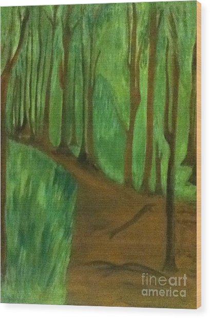 Forest Path Wood Print by Berta Barocio-Sullivan