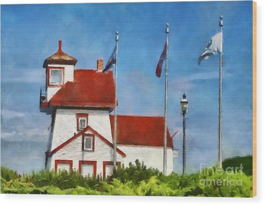 Fort Point Lighthouse In Liverpool Nova Scotia Canada Wood Print