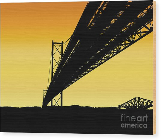 Forth Bridges Silhouette Wood Print