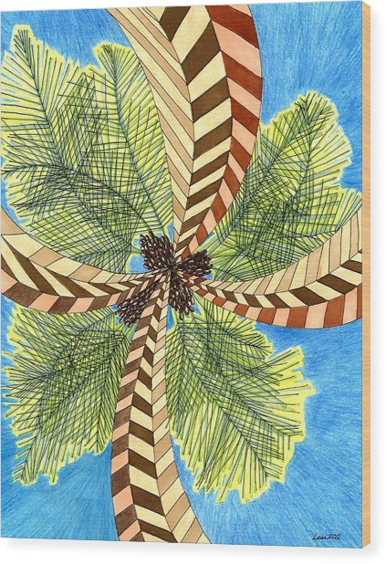 Four Palms Wood Print