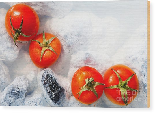 Four Red Tomatos  Wood Print by Agusta Gudrun Olafsdottir