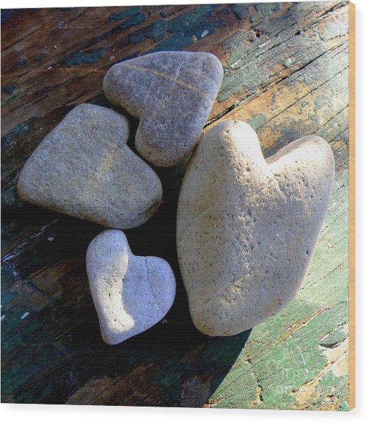 Four Stone Hearts Wood Print