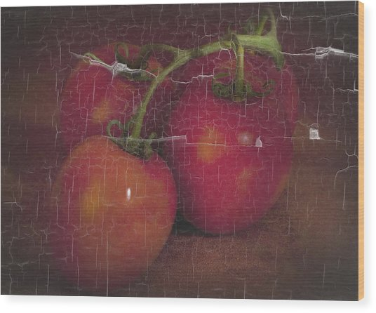 Four Tomatoes Crackle Wood Print