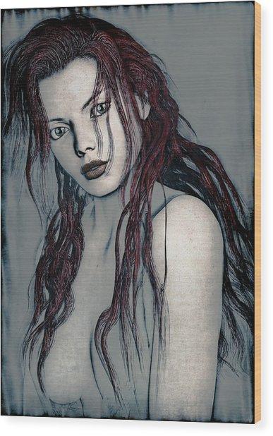Foxy Redhead Wood Print