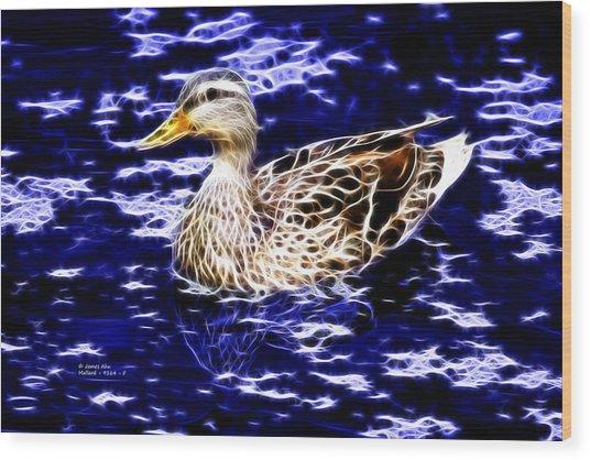 Fractal - Mallard In Pond- 9164 Wood Print