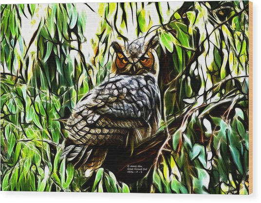 Fractal-s -great Horned Owl - 4336 Wood Print