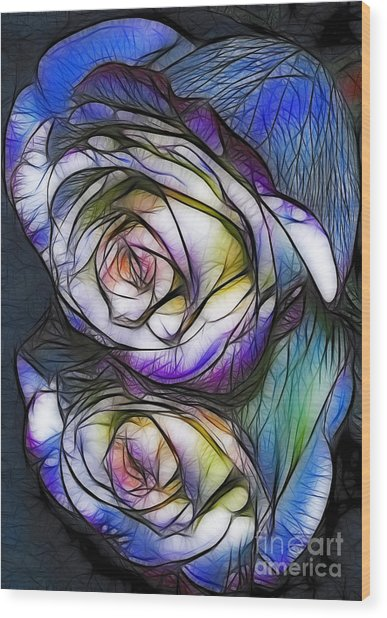 Fractalius Rose Reflection Wood Print by Marianne Troia
