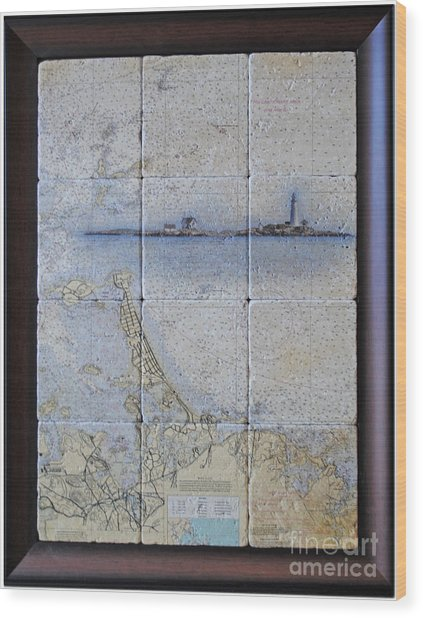Framed Nautical Chart Of Hingham And Hull With Boston Light  Wood Print