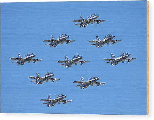 Frecce Tricolori Diamond 9 Wood Print