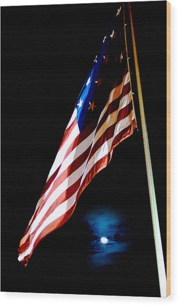 Flag On Federal Hill Wood Print