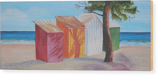 French Beach Huts Wood Print by Siobhan Lawson