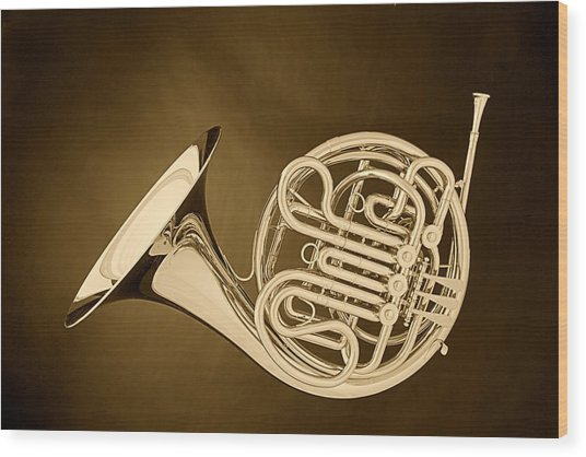 French Horn In Antique Sepia Wood Print