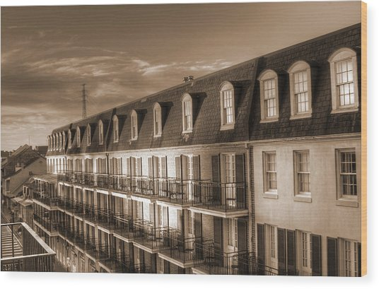 French Quarter Balconies Sepia Wood Print