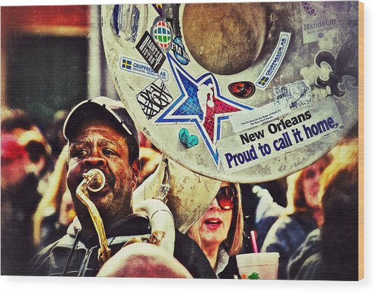 French Quarter Tuba Guy 1 Wood Print