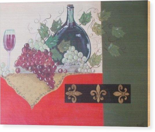 French Wine Wood Print