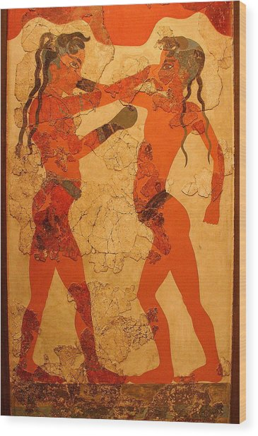 Fresco Of Boxing Children Wood Print