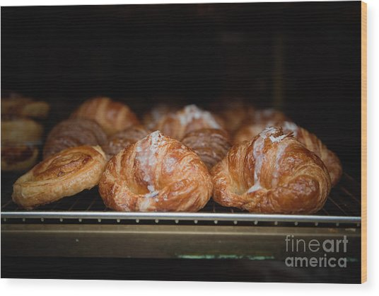 Fresh Croissants Paris Wood Print by Ei Katsumata