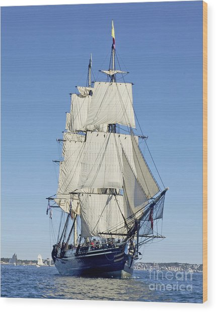 Friendship Sloop Out Of Salem Wood Print
