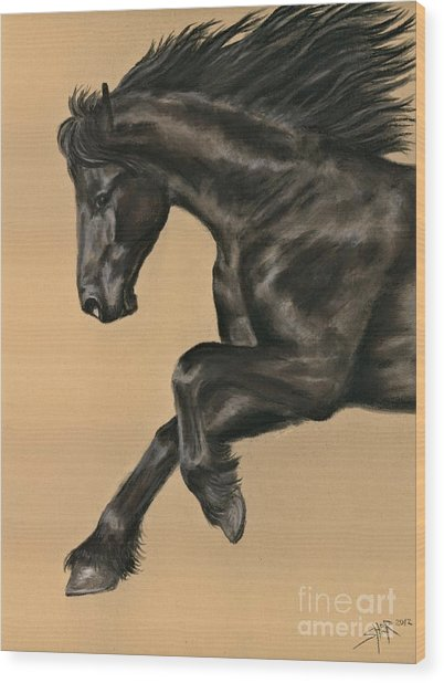 Friesian Portrait Wood Print