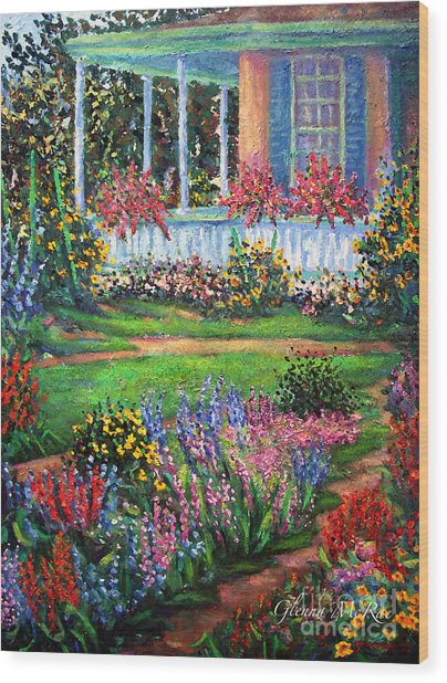 Front Porch And Flower Gardens Wood Print