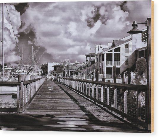Front Street Boardwalk - Infrared Wood Print