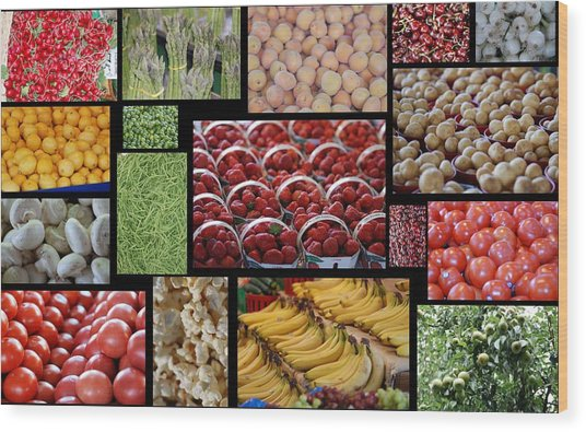 Fruits Mosaic Wood Print by Francois Cartier