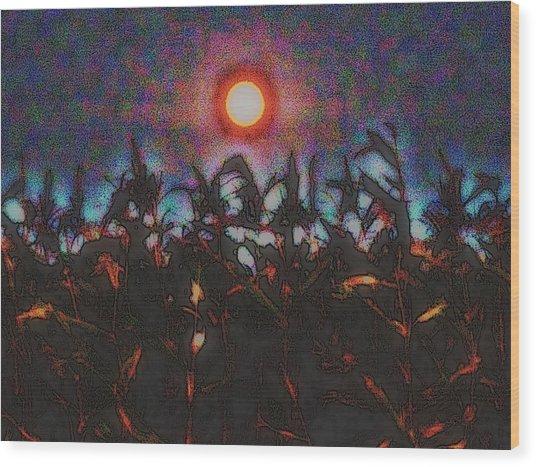 Full Harvest Moon Iowa Wood Print