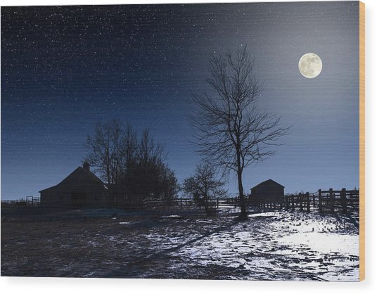 Full Moon And Farm Wood Print
