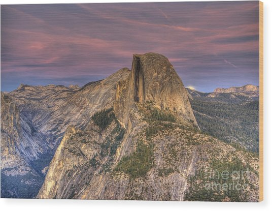 Full Moon Rise Behind Half Dome Wood Print
