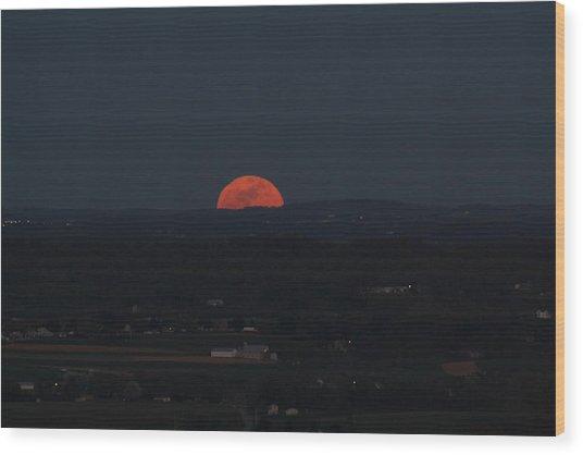 Full Moonrise Wood Print